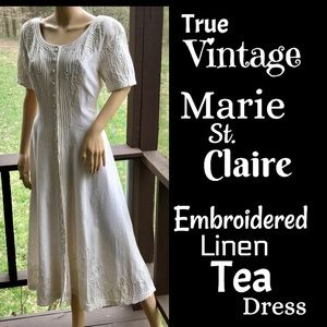 🆕VTG▪️MARIE ST CLAIRE▪️90's Embroidered Tea Dress
